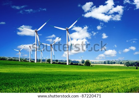 Wind turbines landscape - stock photo