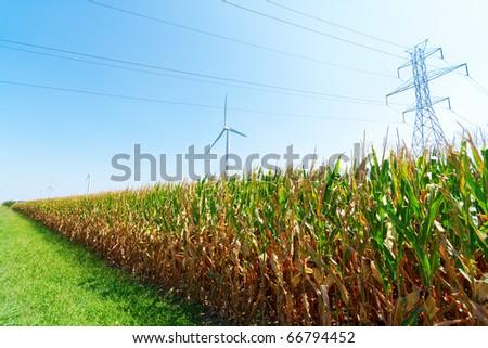 Wind turbines on a farm - stock photo