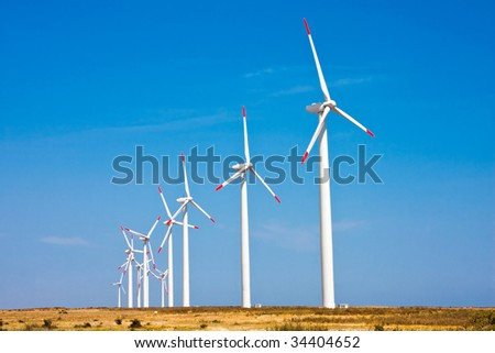 Wind turbines on a field in Bulgaria