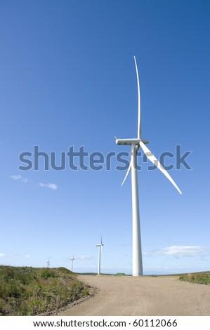 Wind turbines on a wind farm in Scotland, Europe. - stock photo