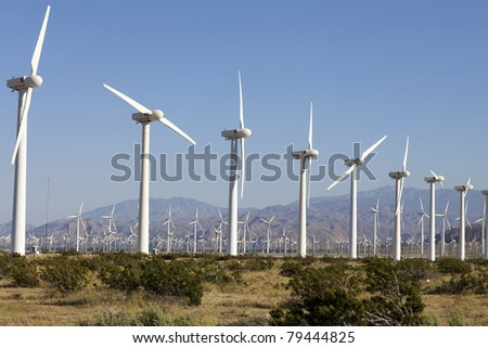Wind Turbines on Alternative Energy Wind Farm - stock photo