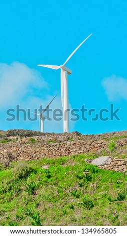 wind turbines on mountain renewable energy source