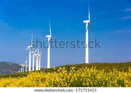 Wind turbines on spring field - stock photo