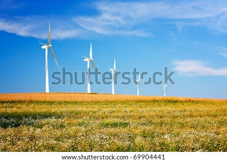 Wind turbines on spring meadow