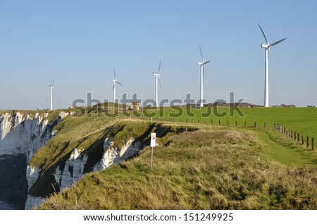 Wind turbines on the cliffs of F�©camp, commune in the Seine-Maritime department in the Haute-Normandie region in northwestern France