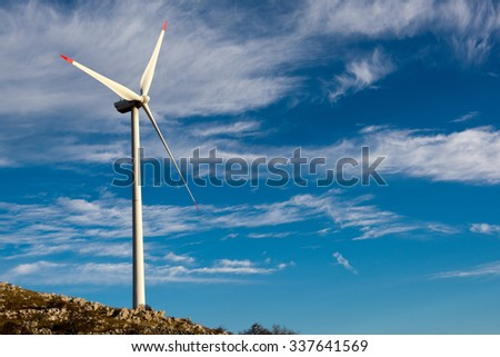 Wind-turbines on the Croatian coast  - stock photo