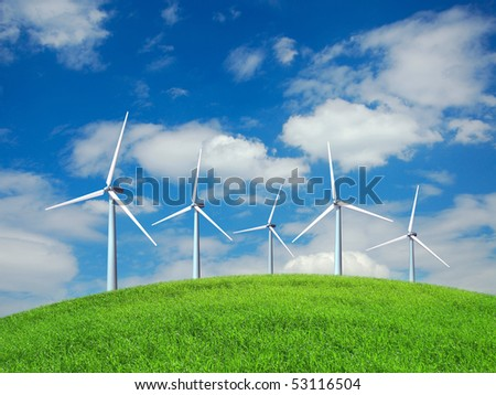 Wind turbines on the hill