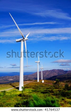 Wind Turbines on the Sea Coast. - stock photo