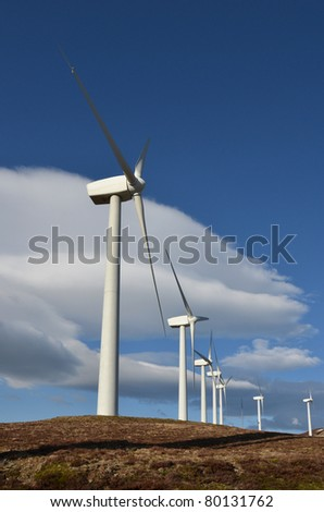Wind turbines on top of a mountain