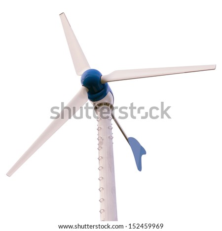 Wind turbines produce electricity from wind power. Isolated on white background. - stock photo