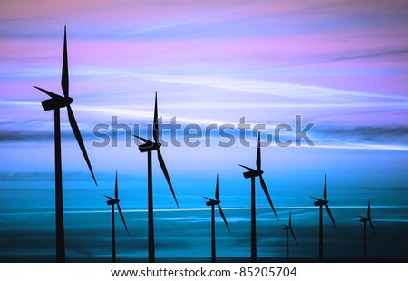 Wind turbines silhouette - stock photo
