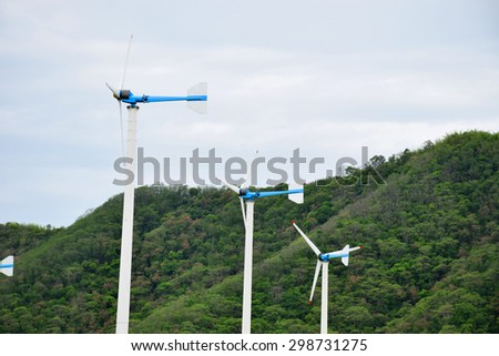 Wind turbines used to generate electricity.