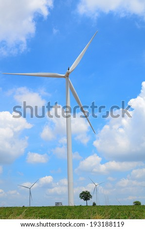 Wind Turbines with Blue Sky and Cloudscape
