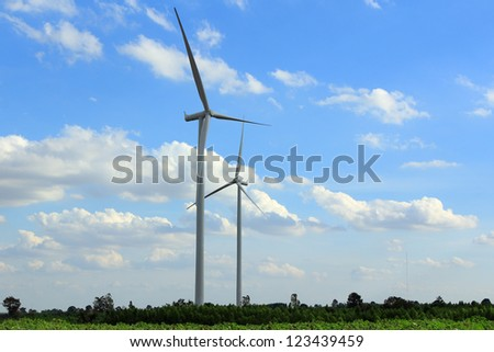 Wind Turbines with blue sky in Thailand