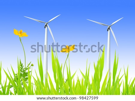 wind turbines with yellow flower on blue sky - stock photo