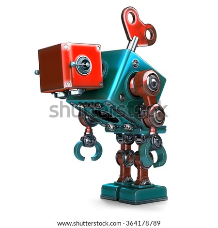 Wind-up overworked Robot with key sticking into his back. Isolated over white. Contains clipping path - stock photo