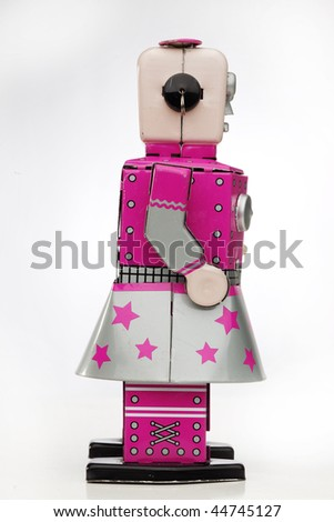 wind up robot girl - stock photo