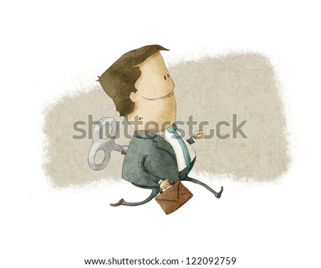 Wind up toy worker - stock photo