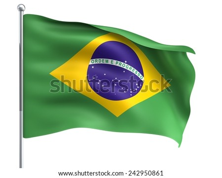 Wind Wave Brazil Brazilia Flag in High Quality Isolated on White with Flagpole - stock photo