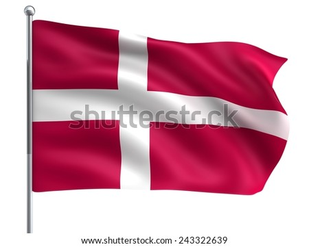 Wind Wave Denmark Danmark Flag in High Quality Isolated on White with Flagpole  - stock photo
