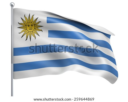 Wind Wave Uruguay Flag in High Quality Isolated on White with Flagpole  - stock photo