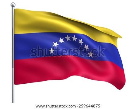 Wind Wave Venezuela Flag in High Quality Isolated on White with Flagpole