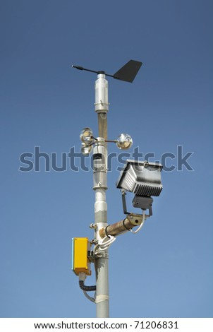 wind wheel or anemometer - stock photo