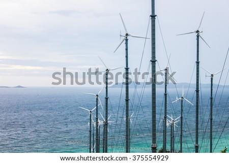 Wind wheel (wind turbine) in Thailand - stock photo