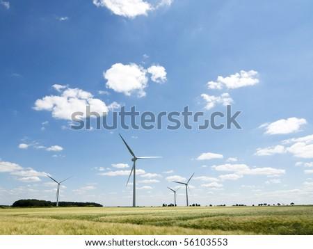 Windfarm in a landscape - stock photo