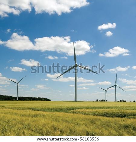 Windfarm in a wheat field - stock photo