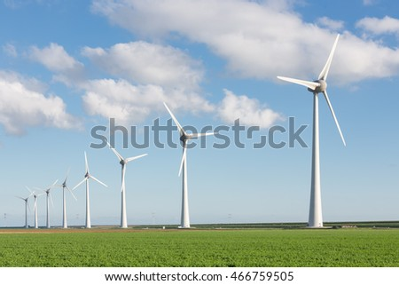 Windfarm in Dutch landscape with large field of sugar beets