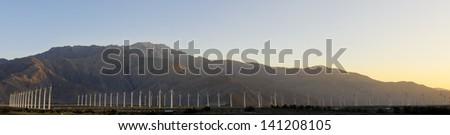 Windfarm near Palm Springs, California. - stock photo