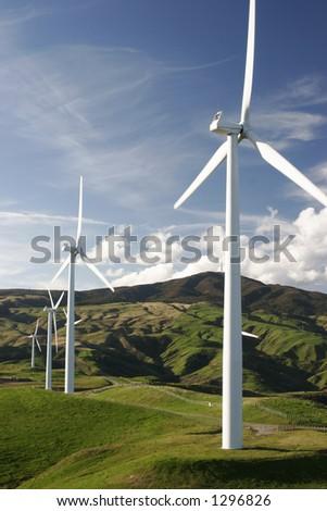 Windfarm on hills - stock photo