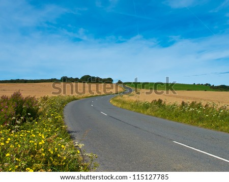 Winding asphalt road in french countryside - stock photo