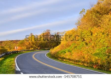 Winding asphalt road with autumn foliage - stock photo