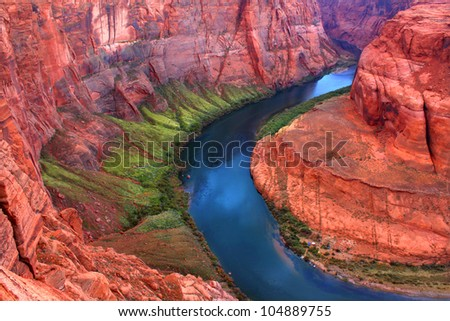 Winding bends of the Colorado River as it makes its way through Arizona - stock photo