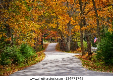 Winding country road in autumn - stock photo