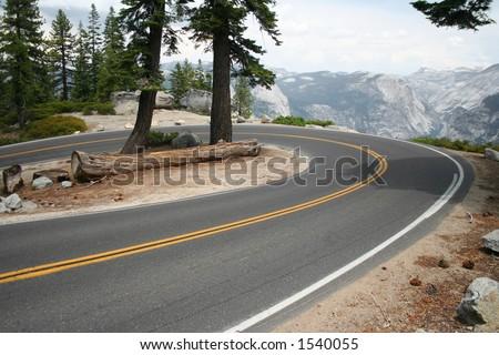 winding curve in yosemite - stock photo