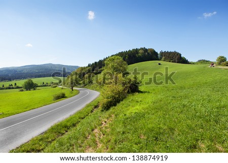Winding mountain road - stock photo