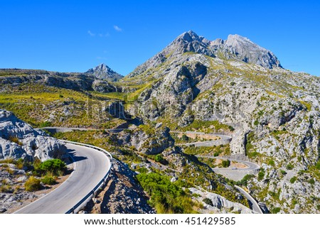 Winding narrow mountain road to Sa Calobra on the island of Majorca in Spain