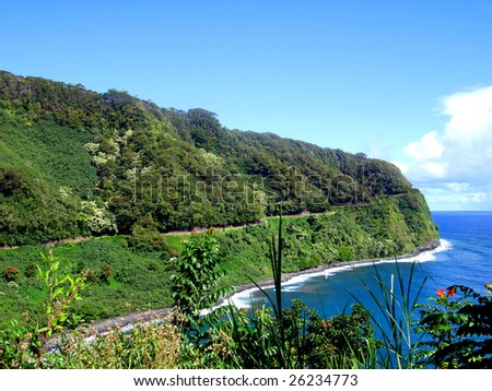 Winding nature of the Road to Hana, Maui, Hawaii