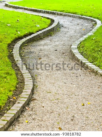 Winding path in botanical garden - stock photo