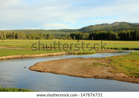 Winding river through a meadow in Yellowstone National Park, Wyoming, USA. - stock photo