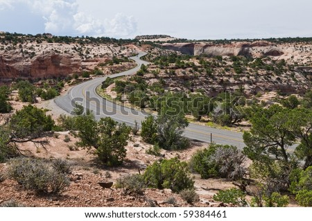 Winding road across The Neck, Islands in the Sky, Canyonlands National Park, Utah