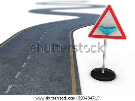 Winding road after the road sign with a bikini. Conceptual image. 3d. - stock photo