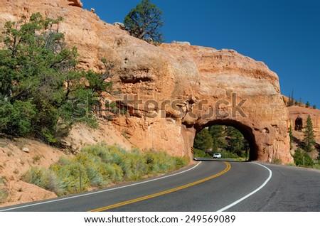 Winding Road at Red Canyon (close to Bryce Canyon National Park), Utah, USA - stock photo