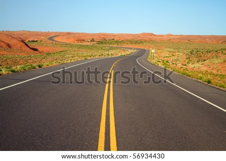 Winding road going into Canyon de Chelly in Arizona USA - stock photo