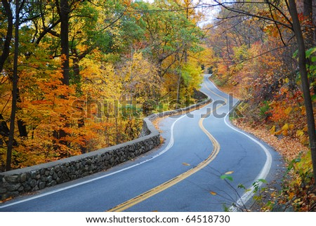 Winding road in Autumn woods with colorful foliage tree in rural area. - stock photo