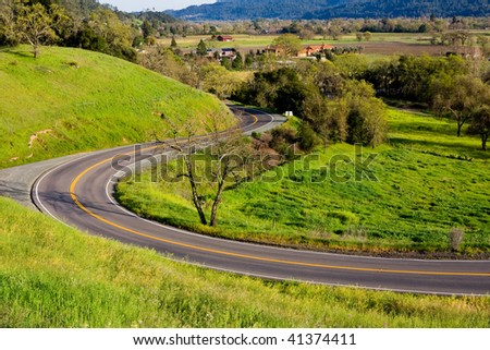 Winding road in Napa Valley - stock photo