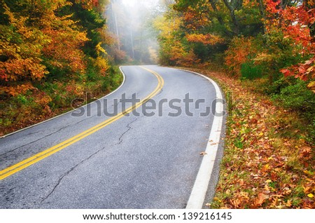 Winding road in New England on a foggy autumn day - stock photo
